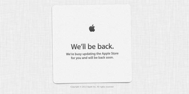 Apple Store Onlineがメンテナンスモードに突入しています。