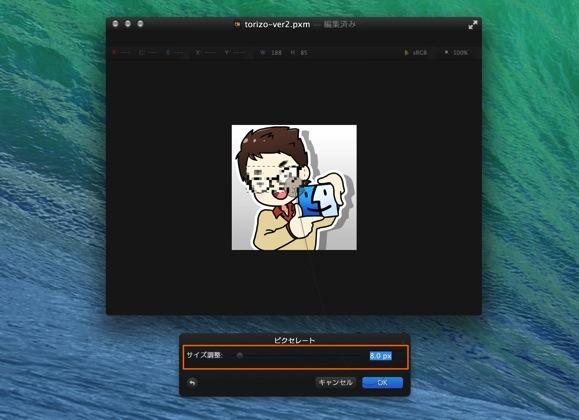 Pixelmatorで画像をモザイク処理する方法4