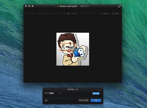 Pixelmatorで画像をモザイク処理する方法5
