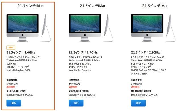 iMac21.5インチMid2014スペック