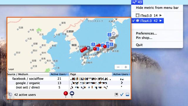 現在閲覧しているユーザーのマップ