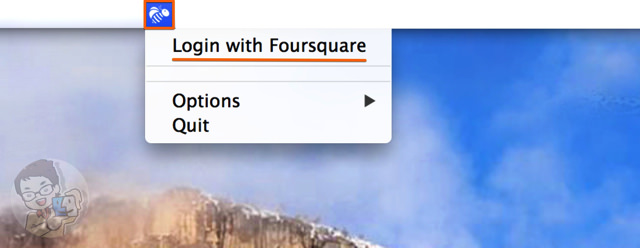 メニューバーからFoursquareにログインする