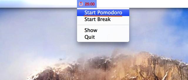 メニューバーの「Start Pomodoro」をクリック