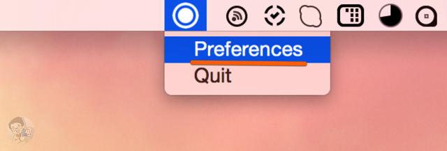 メニューバーのアイコンをクリックし「Preference」を選択する