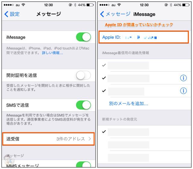 「メッセージ」の「送受信」からApple ID を確認する