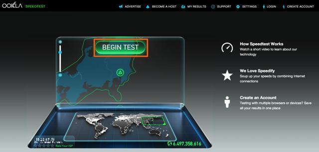 BEGIN TEST をクリックするだけでインターネットのスピードテストができる