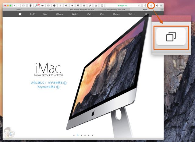 Safari 8 の右上にある「すべてのタブを表示する」ボタンを選択する
