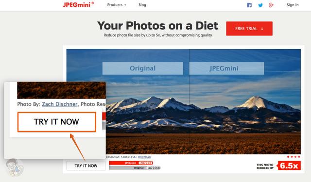 JPEG mini のトップページにある「TRY IT NOW」をクリックする