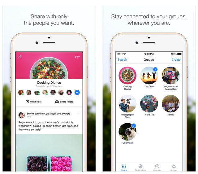 Facebook groupsの操作画面