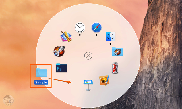 ドラッグ&ドロップでフォルダやアプリを追加できる