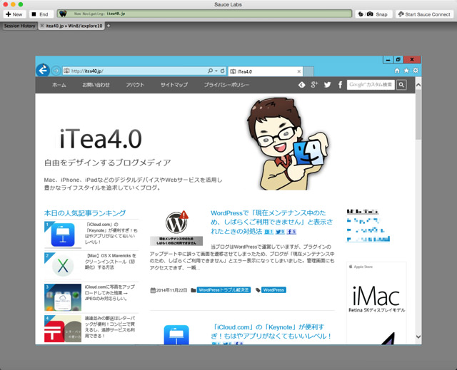 Internet Explorerでのブラウザ確認ができる