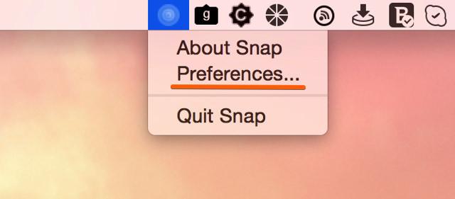 Snapの環境設定を選択する
