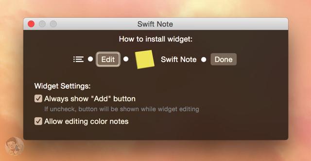 「Swift Note」を通知センターのウィジェットに追加する