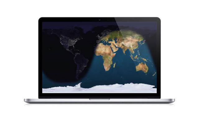 Macの壁紙が地球の衛星写真に変化する
