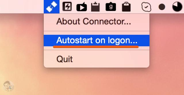 メニューバーにある「Autostart on logon」を有効にする
