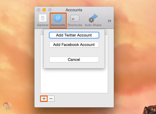TwitterとFacebookのアカウントを追加する