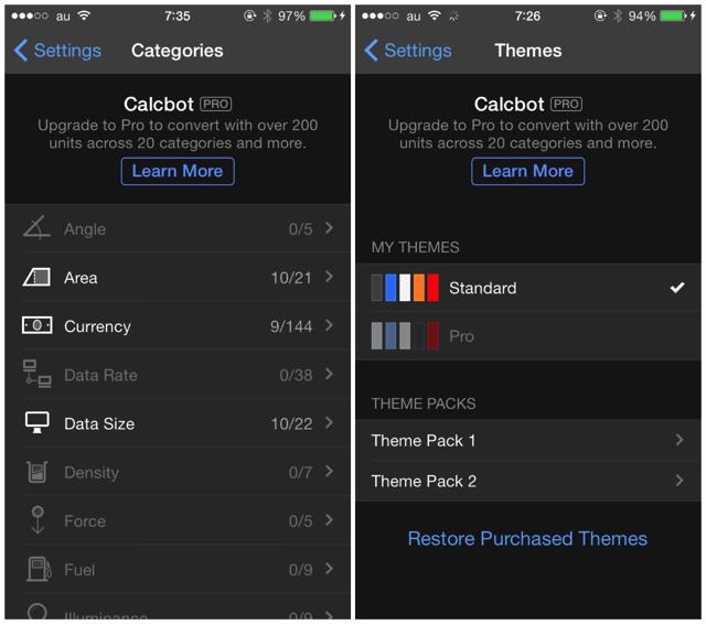 「Calcbot 2.0」には単位変換の拡張機能や有料テーマを購入することが可能