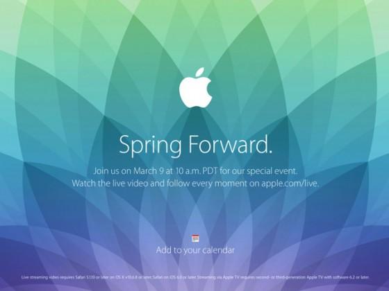 Apple、2015年3月9日にスペシャルイベント「Spring Forward」開催