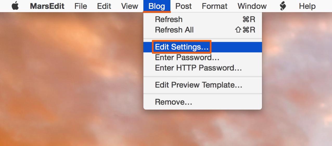 MarsEditを起動し「Blog」内にある「Edit Setting」を選択する