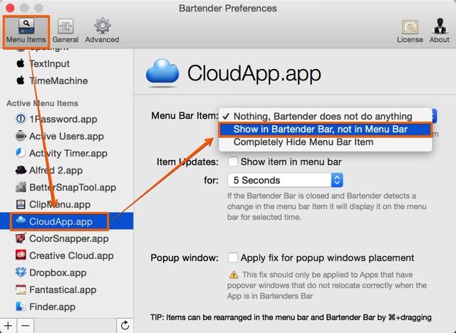 「Menu Items」の項目で左サイドバーから任意のアプリを選んで非表示にする