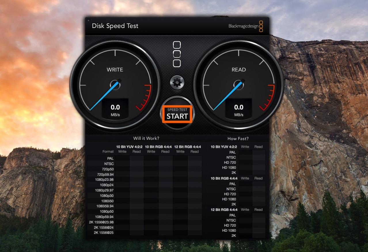 HDDやSSDの速度を計測するには「Blackmagic Disk Speed Test」の「START」をクリックする