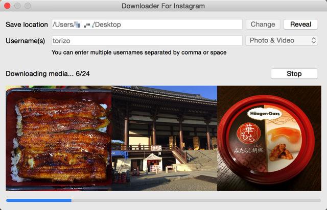 Instagramにアップロードした写真をすべてダウンロードできる