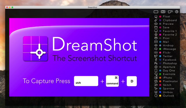 DreamShotは、ショートカットで撮影した画像を好きなアプリにダイレクトに送信できる