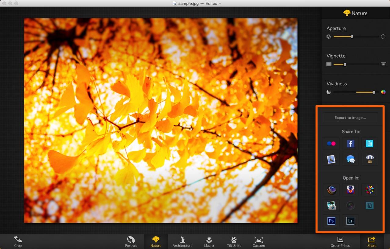 加工した写真はPhotoshopやLightroomに書き出すことも可能