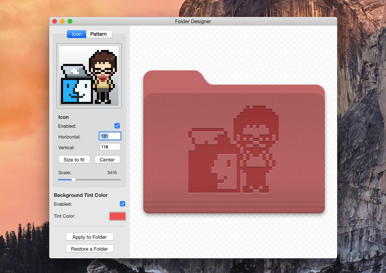 Folder designer の「Icon」タブで写真を合成