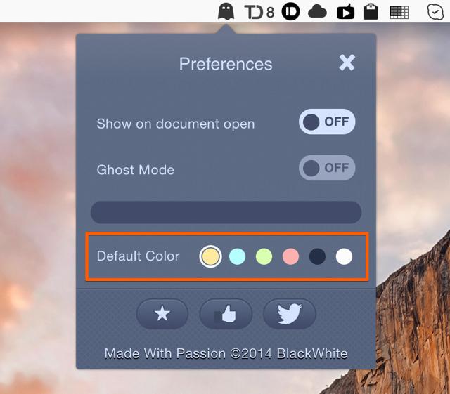 環境設定で付箋メモの標準カラーを設定できる