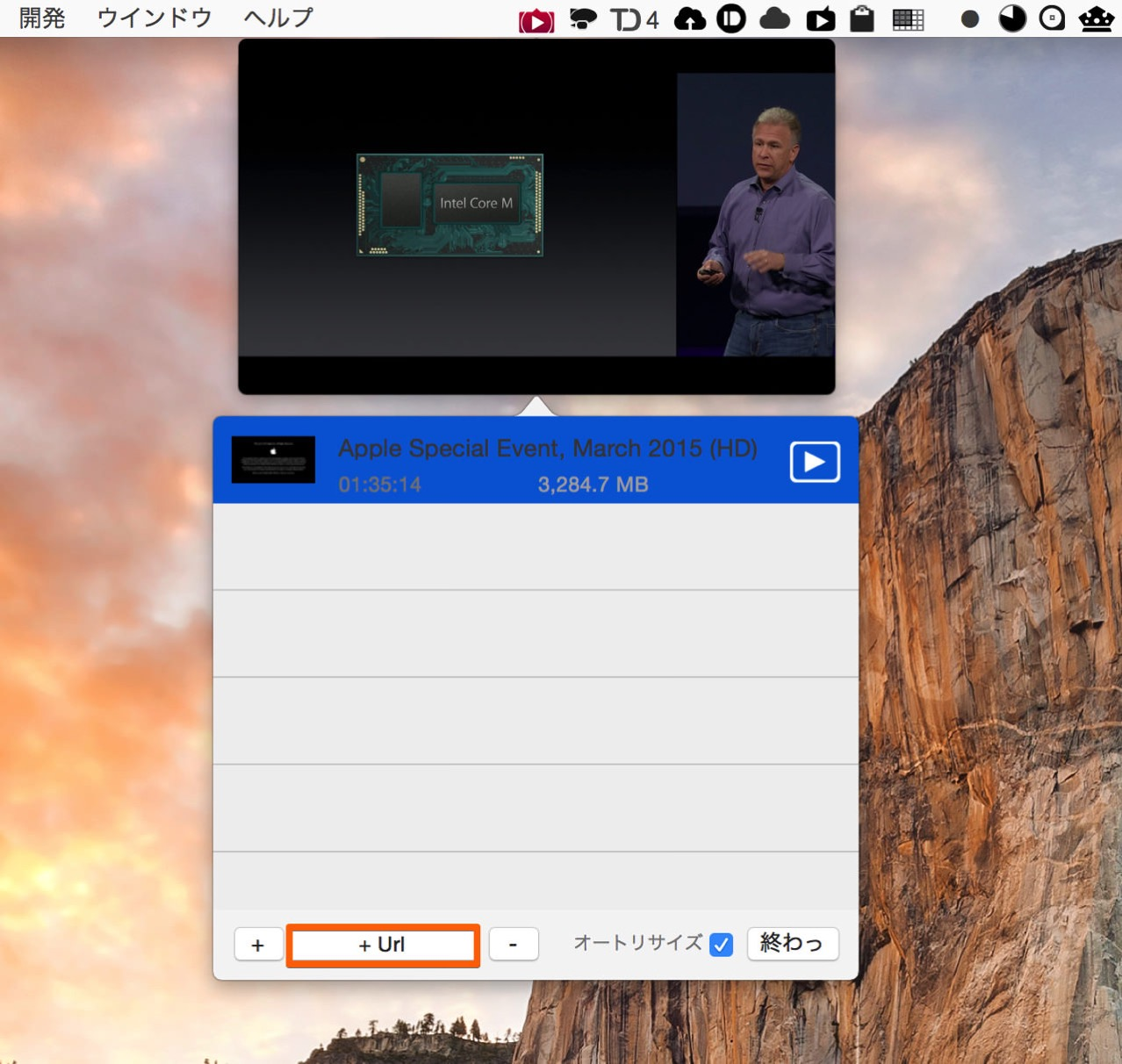 URLを入力して動画を再生することも可能