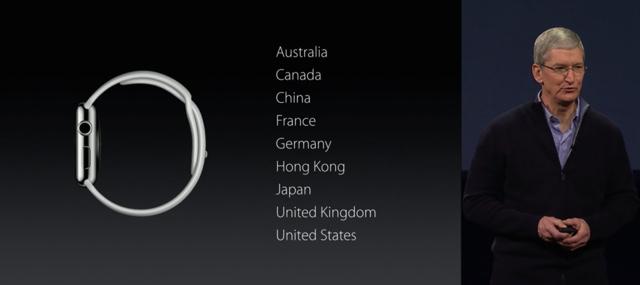 Apple Watch 発売国に日本も含まれている