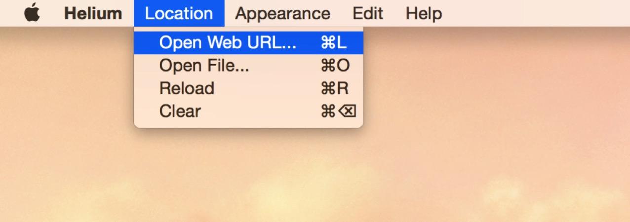 メニューバーから「Open Web URL」を選択する
