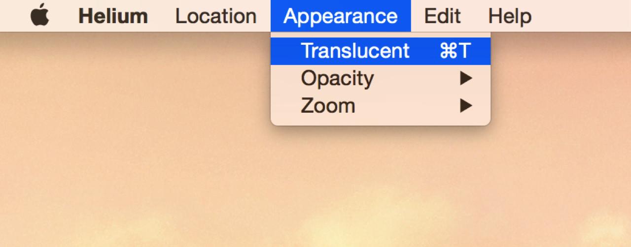メニューバーから「Translucent」を選択する