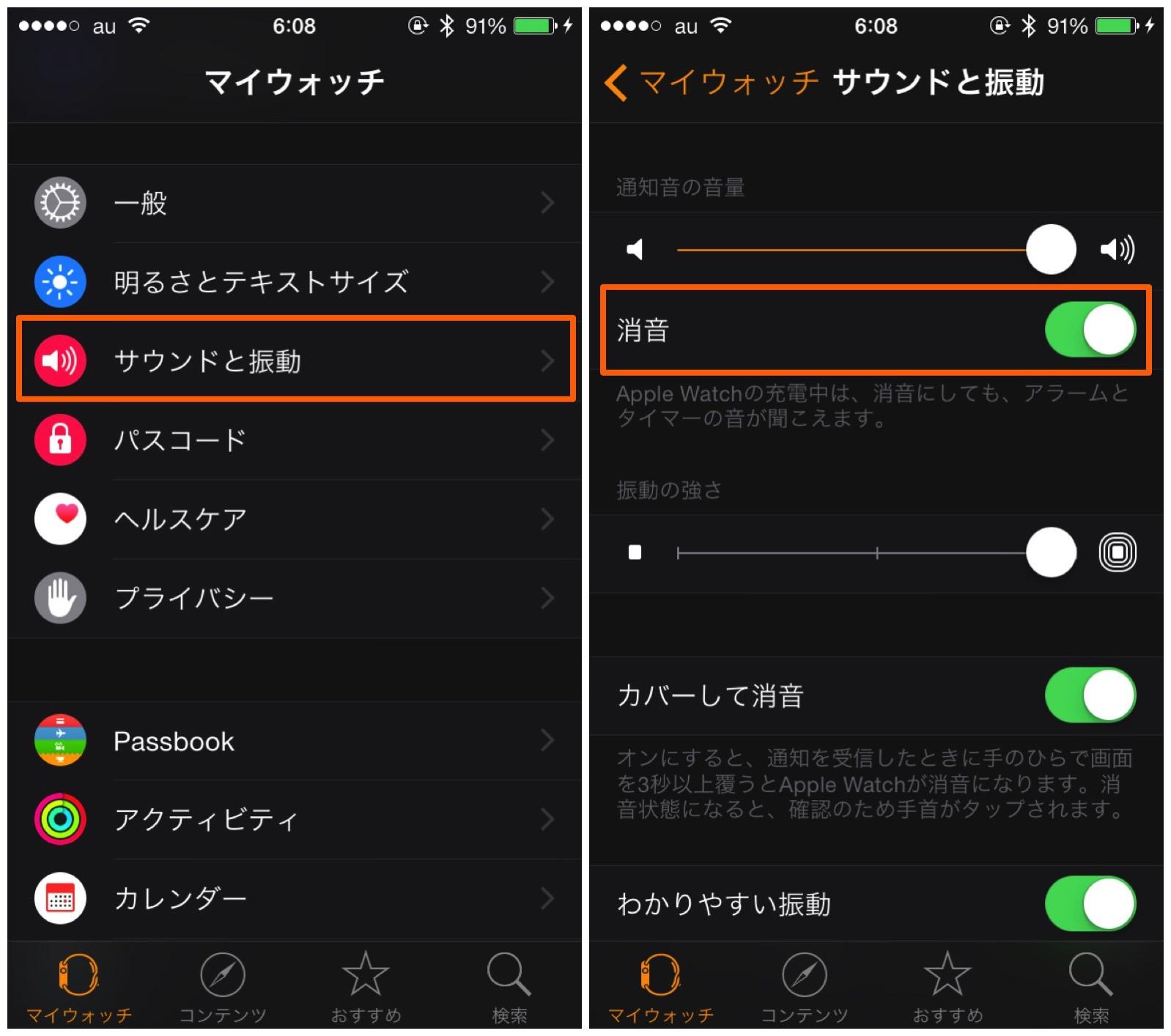 iPhone の Apple Watch アプリから消音モードを有効にする