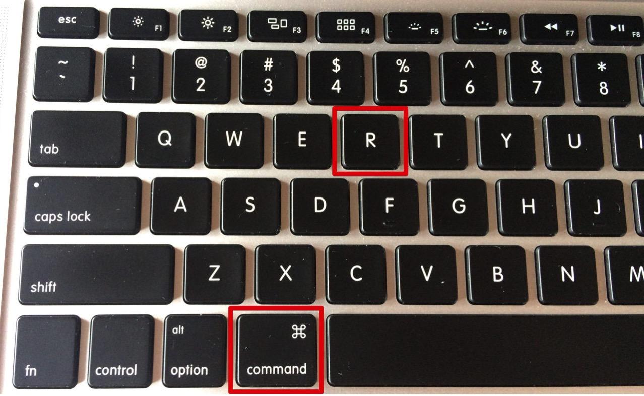 command(コマンド)キーとRボタンをしばらく同時押しする