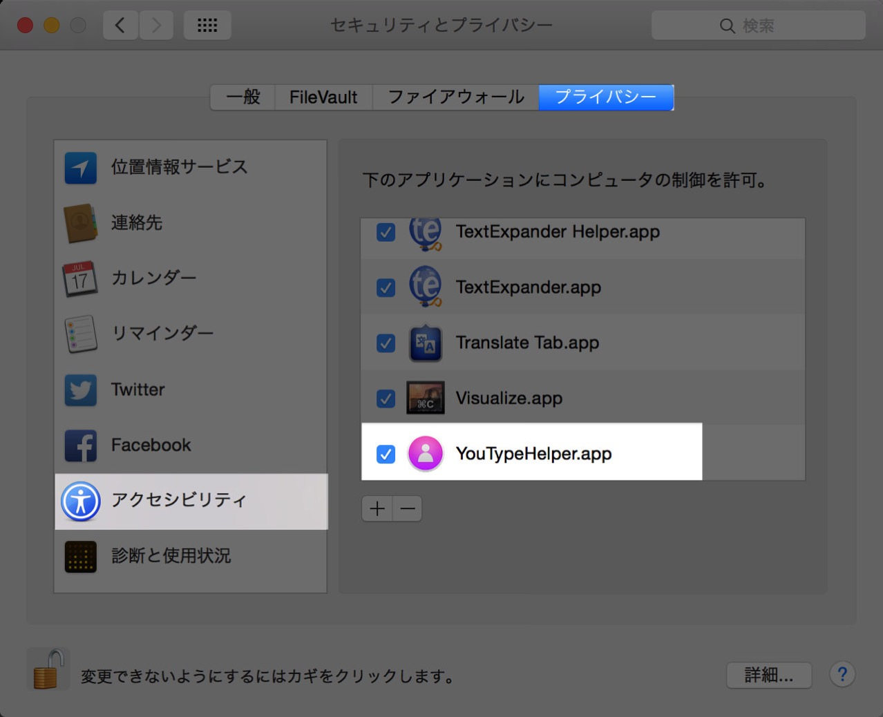 アクセシビリティの項目で「YouType」の認証を許可する