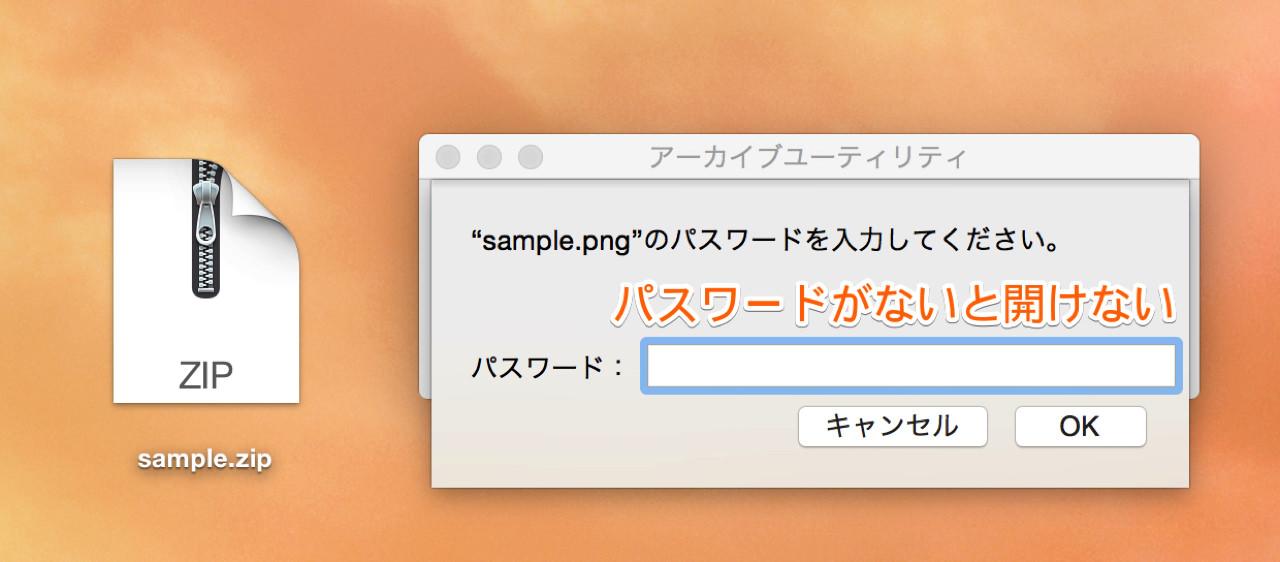 パスワードがないとZIPファイルを開けない
