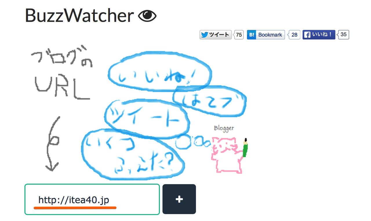 「BuzzWatcher」のトップページからブログのURLを入力する