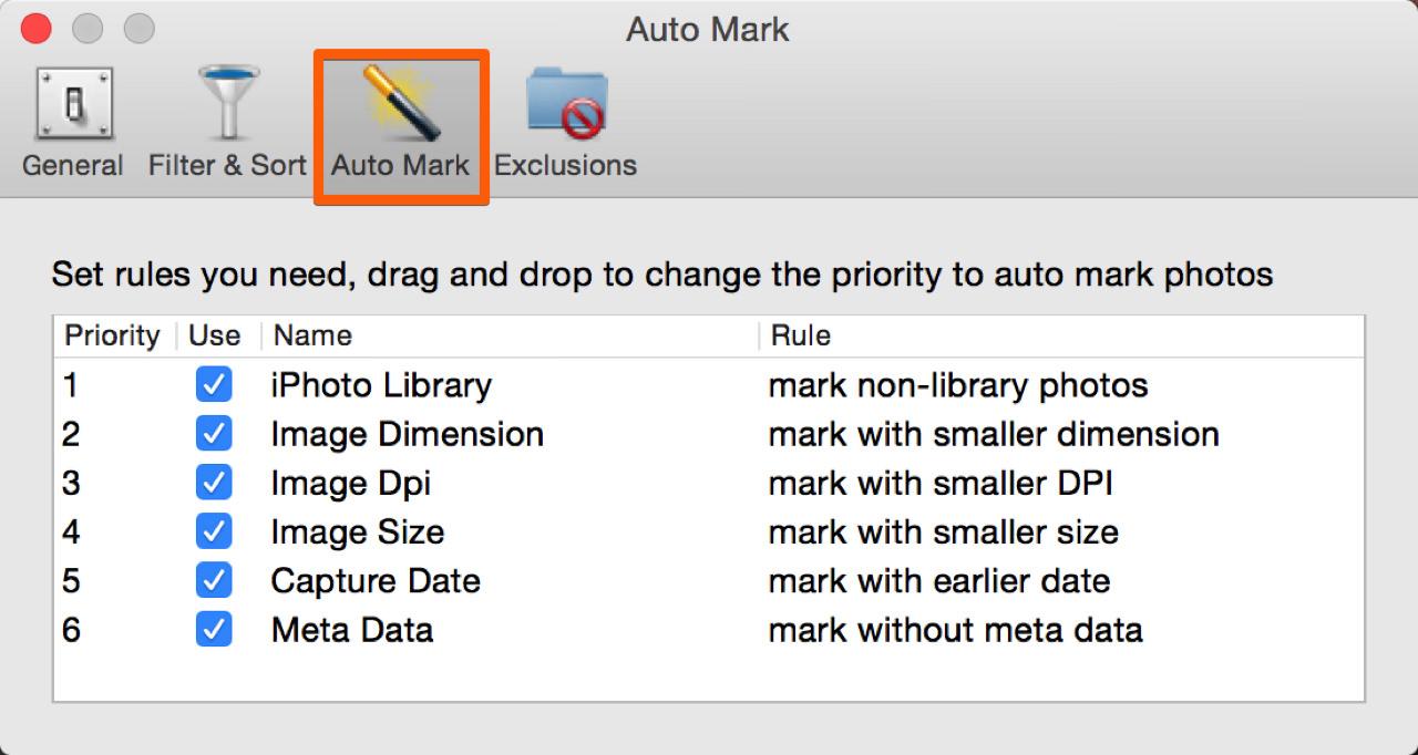 「Auto Mark」の設定を変更できる