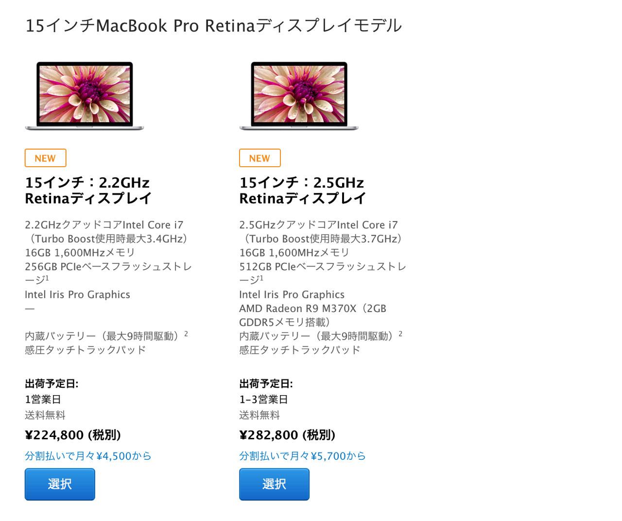 Macbook pro retina mid 20151