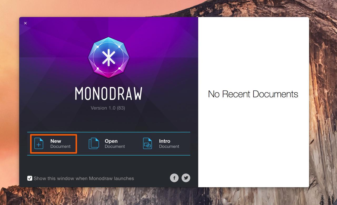 Monodrawの新規ファイル作成を選択する
