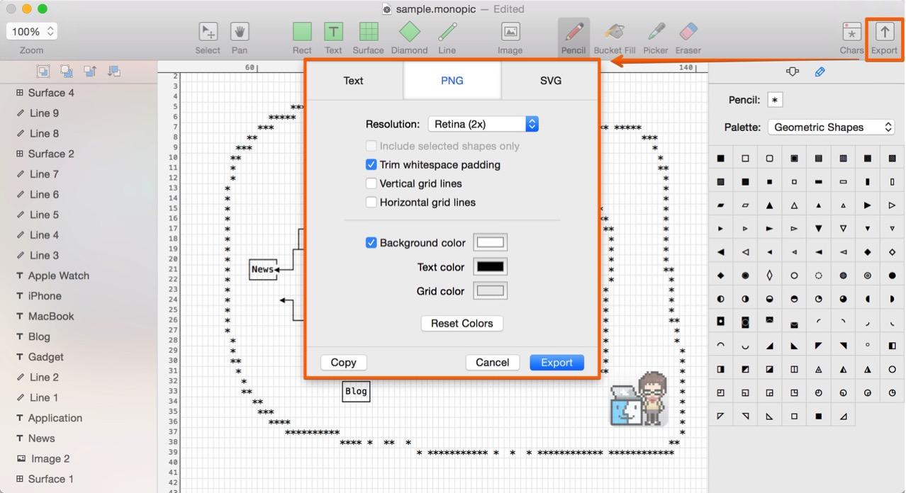 テキスト形式やPNG、SVG形式で書き出しできる