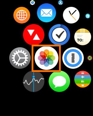 「Apple Watch」の「写真」を起動する
