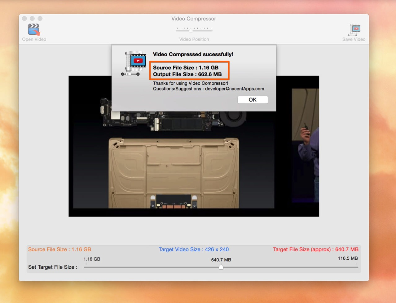 元のファイルの約半分程度のサイズに動画を圧縮できる