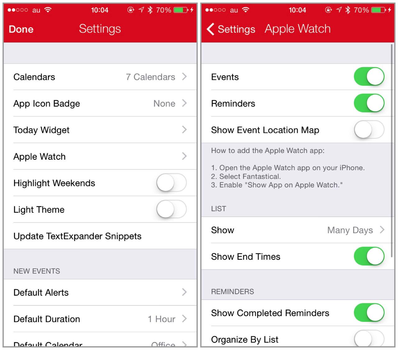 環境設定から「Apple Watch」の設定が可能