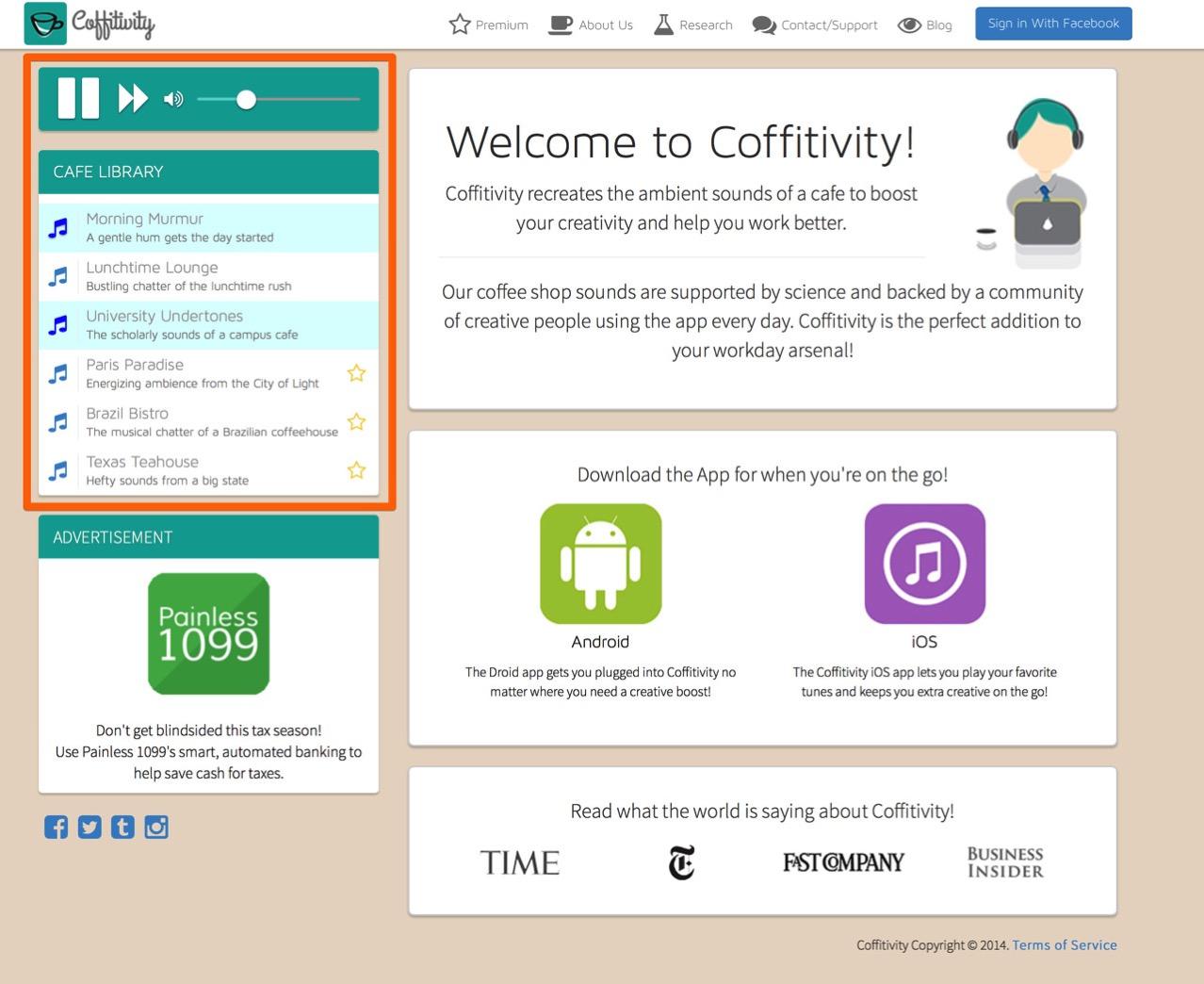 Web service ambient sound coffitivity2