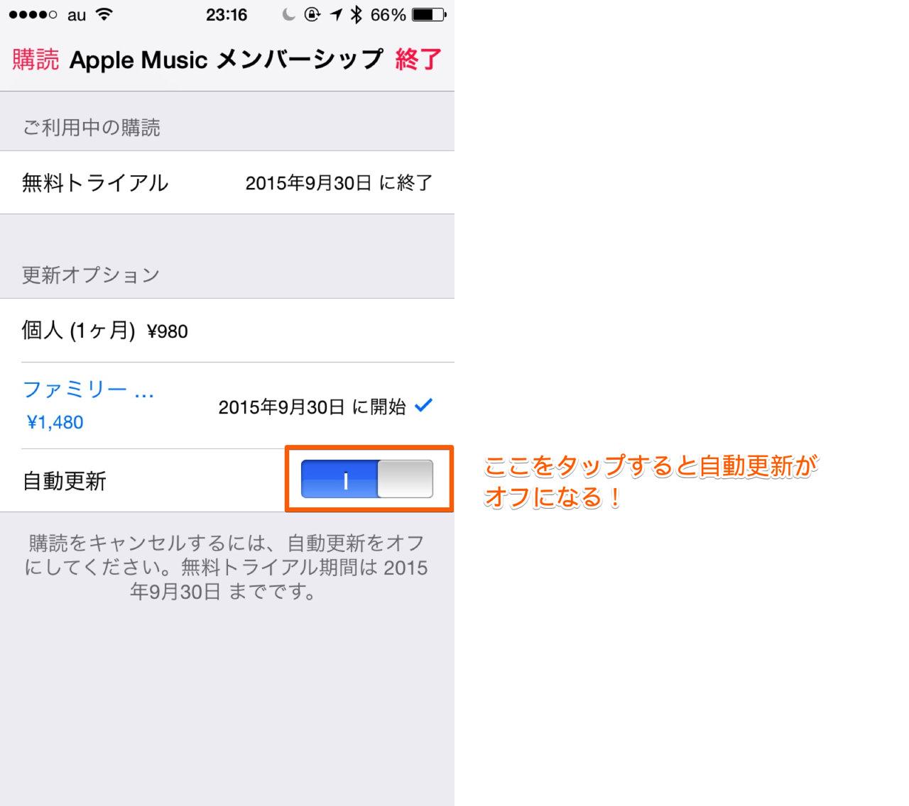 「Apple Music」の自動更新を解除する