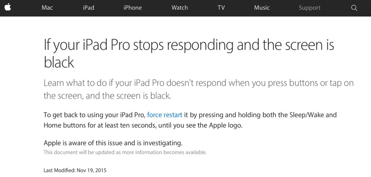 Apple published support document on issues ipad pro to unresponsive after sleep1
