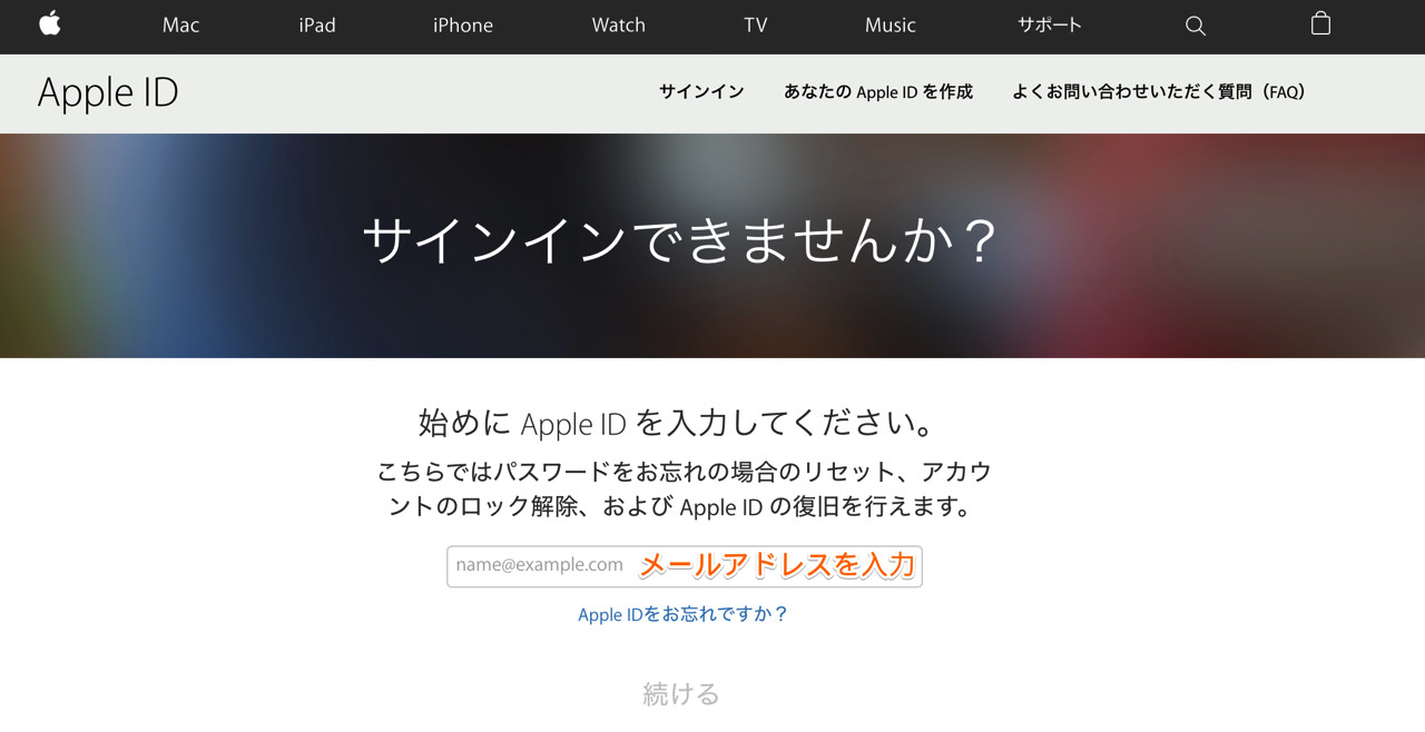 Apple ID のメールアドレスを入力する